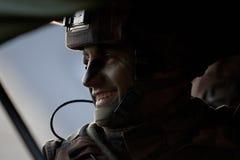 Kaboel, Afghanistan - circa, 2011 De legionair is op plicht tijdens een gevechtsopdracht in Afghanistan Stock Afbeelding
