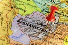 Kaboel, capitol van Afghanistan gespelde kaart Stock Foto's
