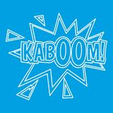 Kaboom, comic book explosion icon, outline style. Kaboom, comic book explosion icon blue outline style isolated vector illustration. Thin line sign Royalty Free Stock Photo