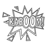 Kaboom, comic book explosion icon, outline style Royalty Free Stock Photos