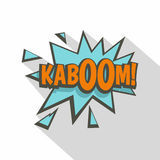 Kaboom, comic text sound effect icon, flat style Stock Photos