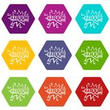 Kaboom, explosion icon set color hexahedron. Kaboom, explosion icon set many color hexahedron isolated on white vector illustration Royalty Free Stock Images