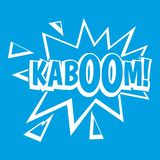 Kaboom, explosion icon white. Isolated on blue background vector illustration Royalty Free Stock Photography