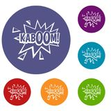 Kaboom, explosion icons set. In flat circle red, blue and green color for web Royalty Free Stock Photos