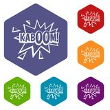 Kaboom, explosion icons set hexagon. Isolated vector illustration Stock Photography