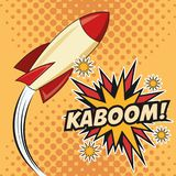 Kaboom explosion pop art comic design. Rocket spaceship kaboom boom explosion cartoon pop art comic retro communication icon. Colorful pointed design. Vector Royalty Free Stock Photos