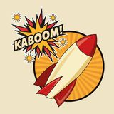 Kaboom explosion pop art comic design. Rocket spaceship kaboom boom explosion cartoon pop art comic retro communication icon. Colorful striped circle design Royalty Free Stock Image