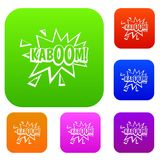 Kaboom, explosion set color collection. Kaboom, explosion set icon color in flat style isolated on white. Collection sings vector illustration Royalty Free Stock Image