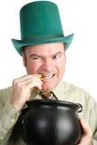 Kabouter met Zijn St Patricks Goud van de Dag stock foto's