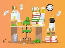 Kabouterbureau Werkplaats die voor het feest van St Patrick wordt verfraaid Bureaustoel achter lijst met stapels van document doc vector illustratie