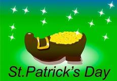 Kabouterschoenen met gouden groen Stock Afbeeldingen