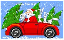 kabrioletu Claus zając target512_1_ Santa royalty ilustracja