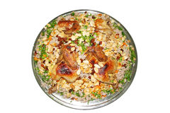 Kabsa. An isolated dish of chicken kabsa Royalty Free Stock Images