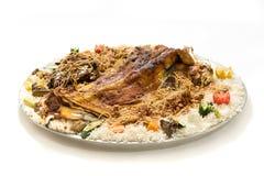 Kabsa with cooked meats - Mandi - Kabsah - Mandi Kabsah Rice with Meats and Vegetables royalty free stock photos