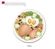 Kabsa eller fegt och ris för bahrainare kryddat royaltyfri illustrationer