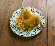 Kabsa - Middle eastern food. Chicken  Kabsa - mixed rice dishes that originates in Yemen.Middle eastern food Royalty Free Stock Photography