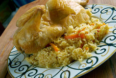 Kabsa - Middle eastern food. Chicken  Kabsa - mixed rice dishes that originates in Yemen.Middle eastern food Stock Image