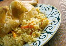 Kabsa - Middle eastern food. Chicken  Kabsa - mixed rice dishes that originates in Yemen.Middle eastern food Stock Photos