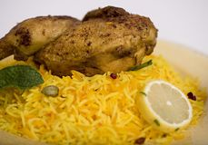 Kabsa middle eastrn food. Chicken kabsa with Royalty Free Stock Photography