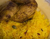 Kabsa middle eastrn food. Chicken kabsa with Royalty Free Stock Photo