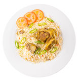 Kabsa Rice II. Traditional Arab Middle East dish Kabsa Rice with lamb Royalty Free Stock Images