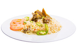 Kabsa Rice III. Traditional Arab Middle East dish Kabsa Rice with lamb Stock Image