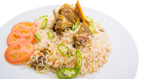 Kabsa Rice IV. Traditional Arab Middle East dish Kabsa Rice with lamb Stock Images