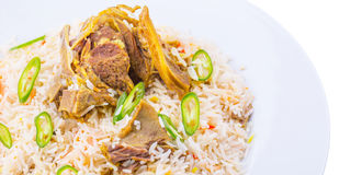 Kabsa Rice IX. Traditional Arab Middle East dish Kabsa Rice with lamb Royalty Free Stock Photography