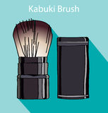 Kabuki brush in style flet Royalty Free Stock Photography