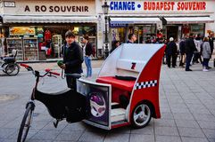 A kabuki cab waits for tourists in Budapest, Hungary. A kabuki cab waits for tourists in a busy street in Budapest, Hungary stock photos