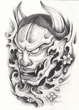 Kabuki Japanese tattoo. Hand pencil drawing on paper Royalty Free Stock Photos