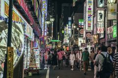 Kabukicho światła, Tokio, Japonia zdjęcie royalty free
