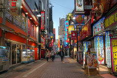 Kabukicho Street in Shinjuku, Tokyo, Japan. A pedestrian street in the Red Light District (Kabukicho) in East Shinjuku district of Japan's capital city - Tokyo stock photography