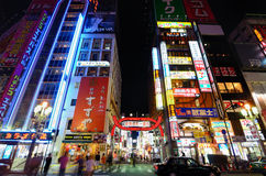 Kabukicho in Tokyo, Japan. Kabukicho is the historic red light district of Tokyo and is known for the myriad of lit signs royalty free stock image