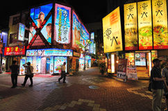 Kabukicho in Tokyo, Japan. Kabukicho is the historic red light district of Tokyo and is known for the myriad of lit signs in Tokyo, Japan stock image