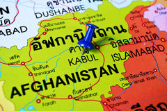 Kabul Afghanistan map. Macro shot of kabul Afghanistan map with push pin Stock Image
