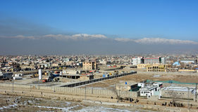 Kabul, Afghanistan. A view looking out over a very hazy and densely populated section of Kabul Afghanistan Stock Image
