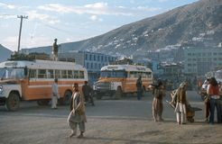 1975. Afghanistan. Bus station in Kabul. Royalty Free Stock Photo