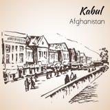 Kabul, capitale di Afganistan abbozzo Fotografie Stock
