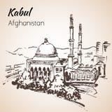 Kabul, capitale di Afganistan Abdul Rahman Khan Mosque abbozzo Fotografia Stock Libera da Diritti