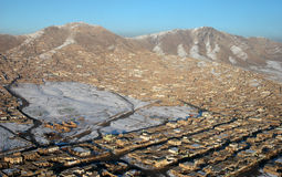 Kabul houses. A second shot form the air of a part of the afghan capital royalty free stock photography