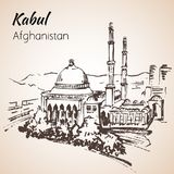Kabul huvudstad av Afganistan Abdul Rahman Khan Mosque skissa royaltyfri foto
