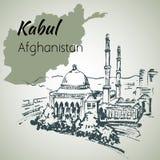 Kabul huvudstad av Afganistan skissa Abdul Rahman Khan Mosque Royaltyfri Bild