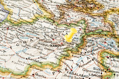 Kabul on map Stock Image