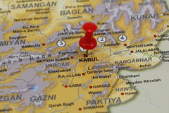 Kabul pin in a map Stock Photography