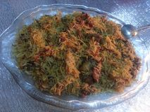 Special cooked rice dish. Kabuli Pulao  A close up: Special cooked rice dish Stock Photography