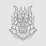 Kabuto Demon Mask line style stock images