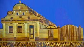 KAC, SERBIE, le 4 novembre 2018 - image de Straw Art de blé représentant la synagogue juive photos libres de droits