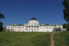 Kachanovka castle in Ukraine. Beautiful white palace of 19 centuries. Old imperial palace in Kashanovka's park of Ukraine Royalty Free Stock Photo
