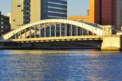 Kachidoki bridge. The picture shows the famous Kachidoki bridge , located in Tokyo, Japan. Kachidoki Bashi (Bridge) crosses the Sumida river that flows through Stock Photo